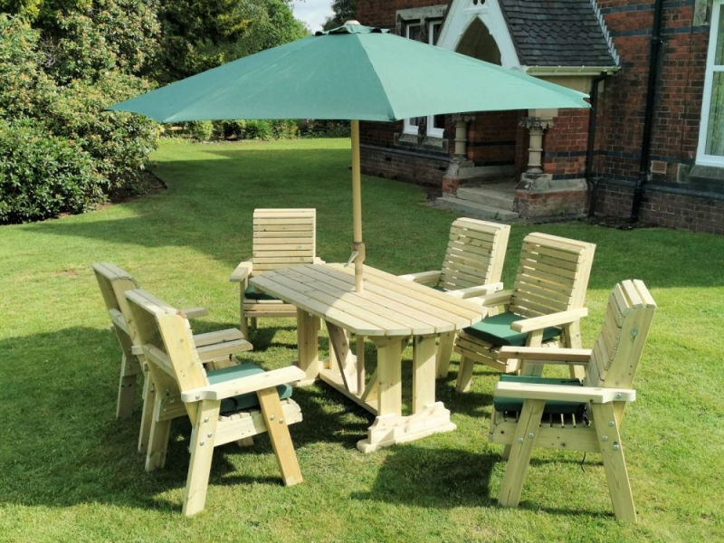 Churnet Valley Ergo Garden Table Set with 6 Chairs