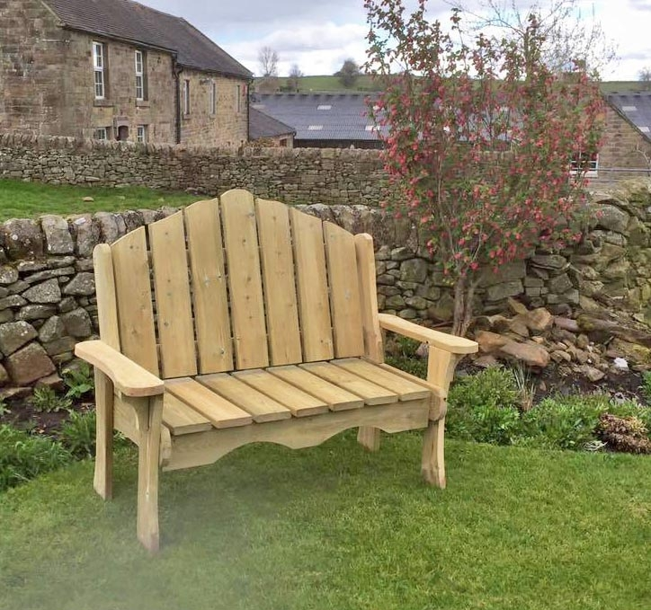 Churnet Valley Alton Manor Wooden 2 Seater Garden Bench