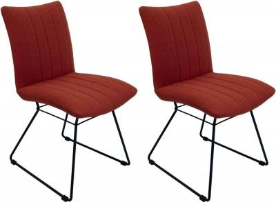 Aura Burnt Orange Fabric Dining Chair (Pair)