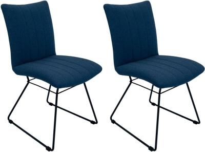 Aura Mineral Blue Fabric Dining Chair (Pair)