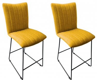 Aura Saffron Fabric Bar Stool (Pair)