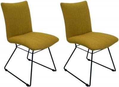 Aura Saffron Fabric Dining Chair (Pair)