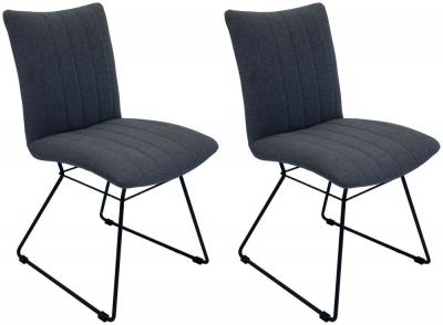 Aura Shadow Grey Fabric Dining Chair (Pair)