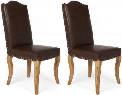 Boston Reclaimed Wood Microfibre Dining Chair (Pair)