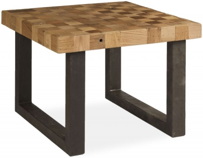 Boston Reclaimed Wood Mosaic Coffee Table with Iron Legs