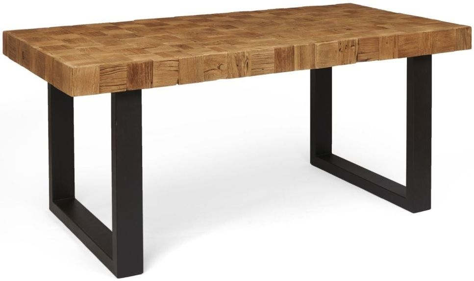 Boston Reclaimed Wood Mosaic Large Dining Table with Iron Legs