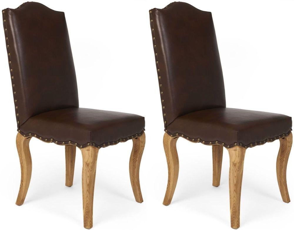 Boston Reclaimed Wood Microfibre Dining Chair (Pair)