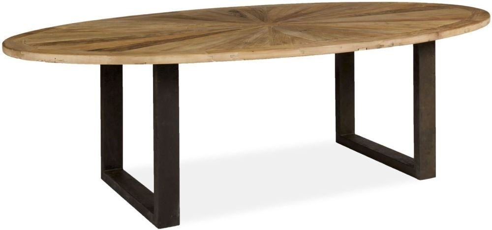 Boston Oval Dining Table with Iron Legs - 254cm
