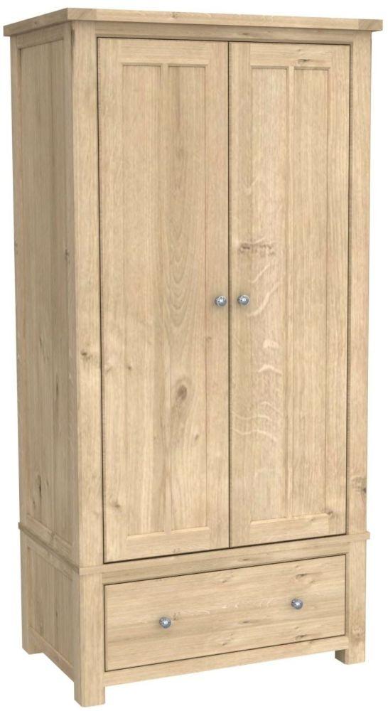 Bretagne Oak 2 Door 1 Drawer Wardrobe