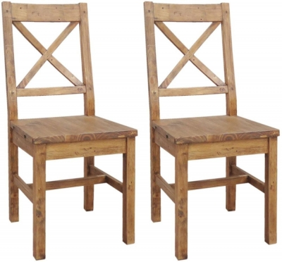 Camrose Reclaimed Pine Dining Chair with Wooden Seat (Pair)