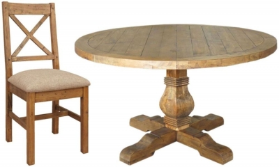 Camrose Reclaimed Pine Dining Set - Round with 6 Fabric Seat Dining Chairs
