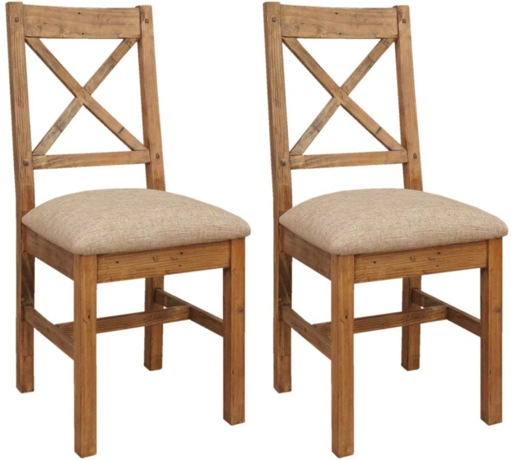 Camrose Reclaimed Pine Cross Back Dining Chair - Cushion Seat (Pair)