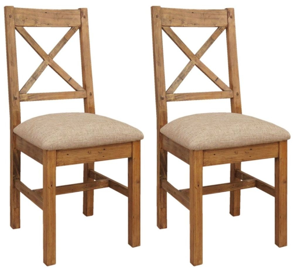 Camrose Reclaimed Pine Dining Chair with Fabric Seat (Pair)