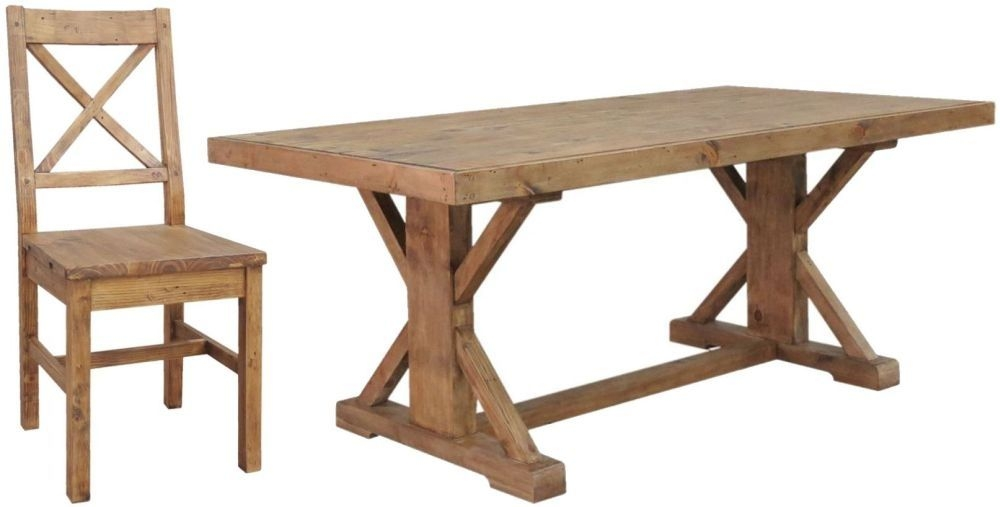 Camrose Reclaimed Pine Dining Set - Monastery with 6 Wooden Seat Dining Chairs