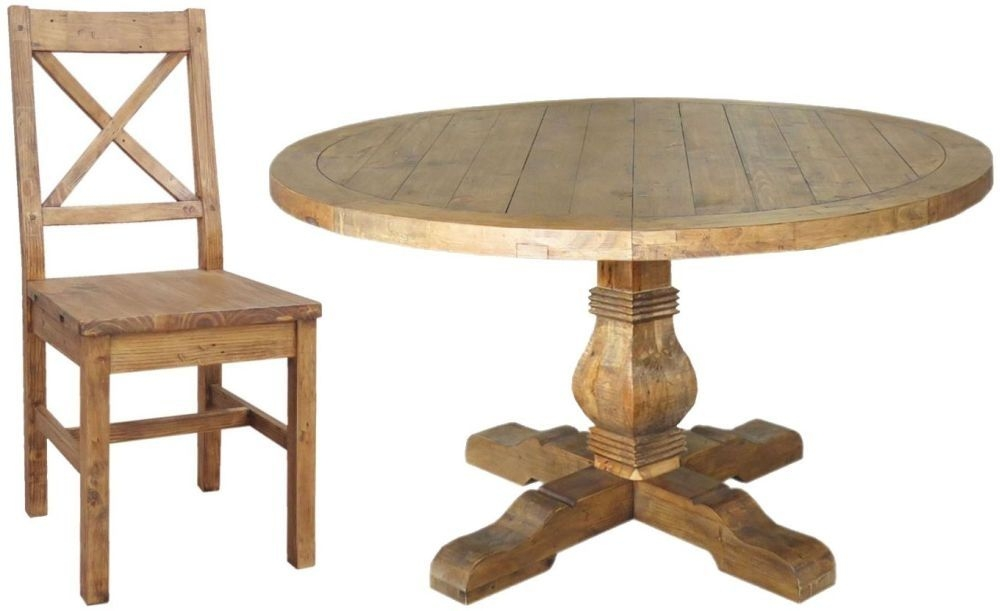 Camrose Reclaimed Pine Dining Set - Round with 6 Wooden Seat Dining Chairs