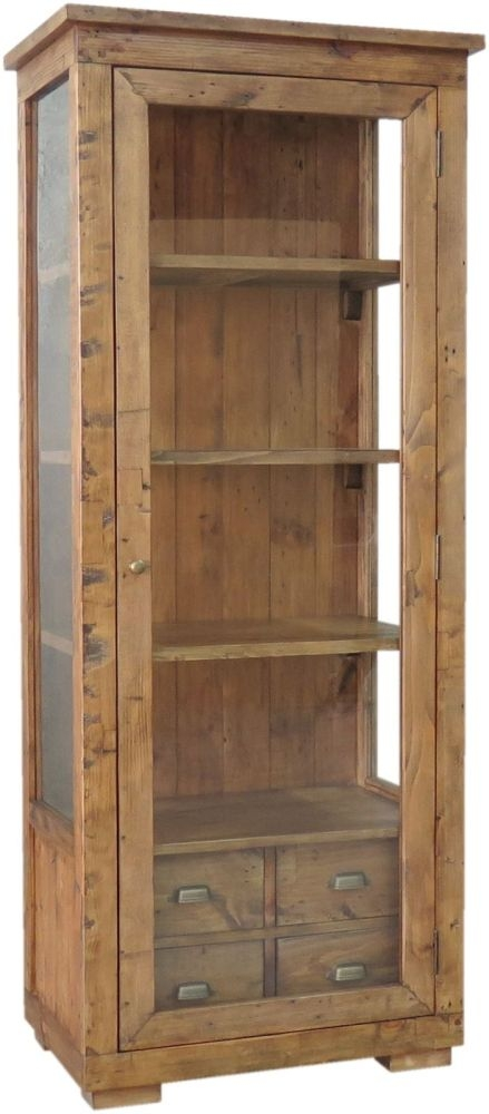 buy camrose reclaimed pine glazed display cabinet online - cfs uk