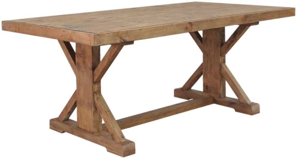 Camrose Reclaimed Pine Rectangular Monastery Dining Table - 193cm