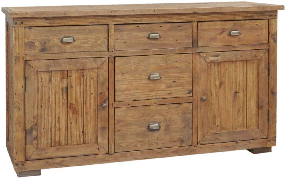 Camrose Reclaimed Pine 2 Door 5 Drawer Wide Sideboard
