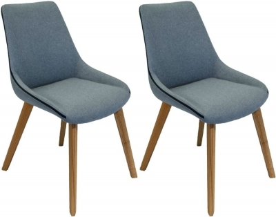 Clearance - Carnaby Sterling Grey Fabric Dining Chair (Pair) - New - E-279