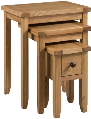 Colorado Oak 1 Drawer Nest of Tables