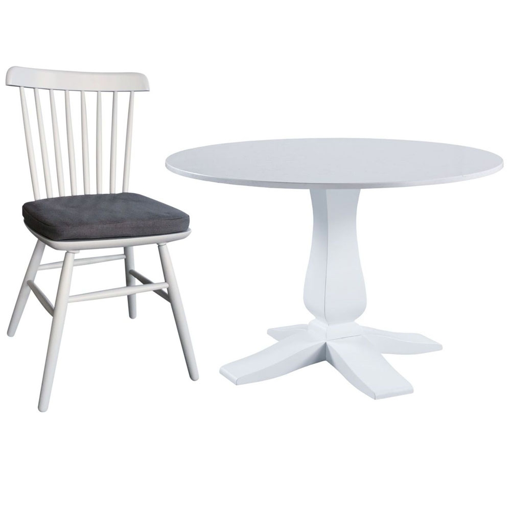 Compton Marble Top Pedestal Dining Set - Round with 4 Chairs