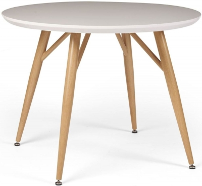 Contemporary High Gloss White 100cm Round Dining Table