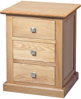 Dalton Oak Bedside Cabinet - 3 Drawer