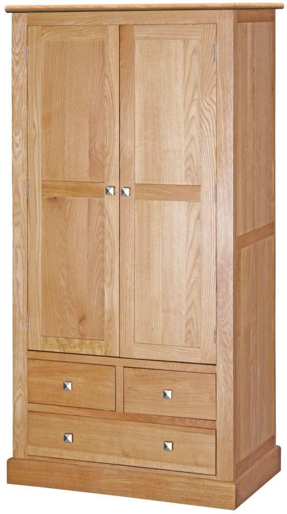 Dalton Oak Wardrobe - 2 Door 3 Drawer