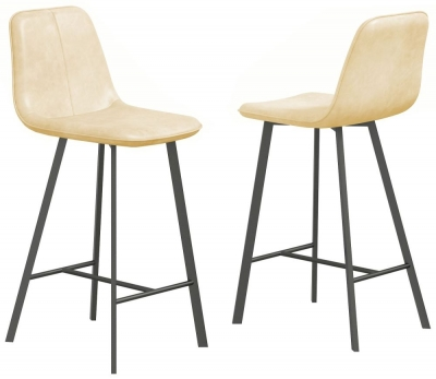 Delta Cream Faux Leather Bar Stool (Pair)