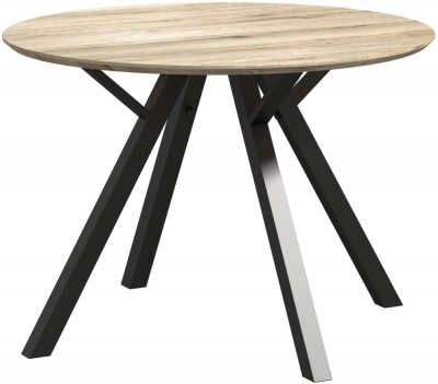 Delta Light Wood and Metal 110cm Round Dining Table