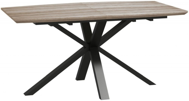 Delta Rustic Wood and Metal 160cm-210cm Extending Dining Table