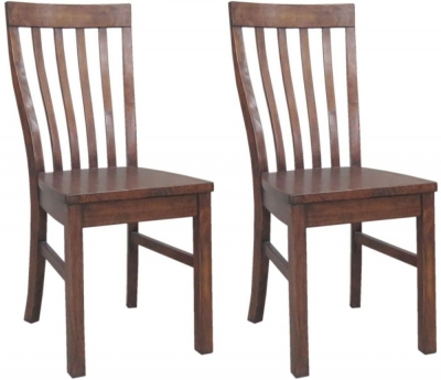 Driftwood Reclaimed Pine Dining Chair with Wooden Seat (Pair)