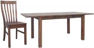 Driftwood Reclaimed Pine Dining Set - Large Extending with 6 Wooden Seat Dining Chairs