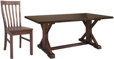 Driftwood Reclaimed Pine Dining Set - Refectory with 6 Wooden Seat Dining Chairs