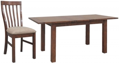 Driftwood Reclaimed Pine Dining Set - Small Extending with 6 Fabric Seat Dining Chairs
