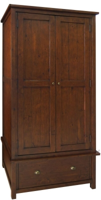 Driftwood Reclaimed Pine 2 Door 1 Drawer Wardrobe