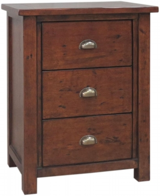 Driftwood Reclaimed Pine Bedside Cabinet - 3 Drawer Large