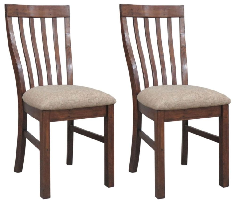 Driftwood Reclaimed Pine Dining Chair with Fabric Seat (Pair)