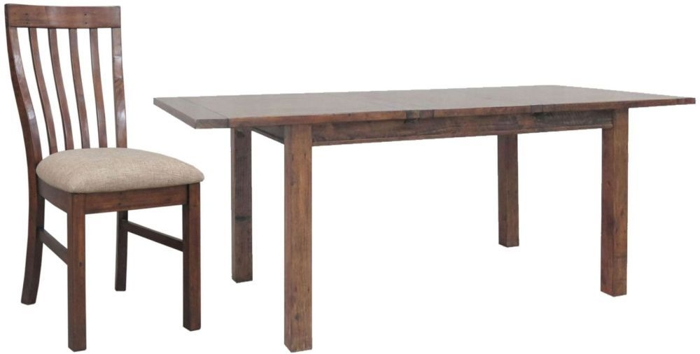 Driftwood Reclaimed Pine Dining Set - Large Extending with 6 Fabric Seat Dining Chairs
