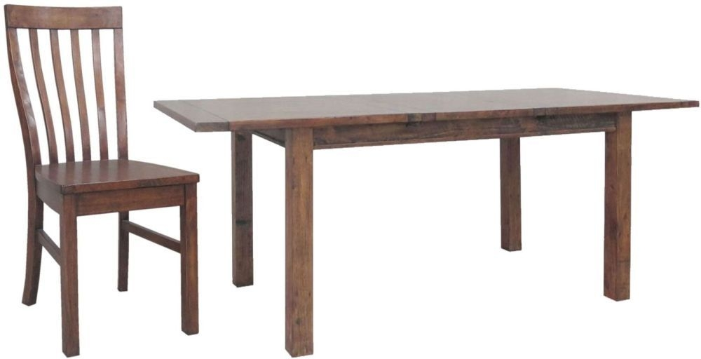 Buy Driftwood Reclaimed Pine Dining Set Large Extending With 6 Wooden Seat