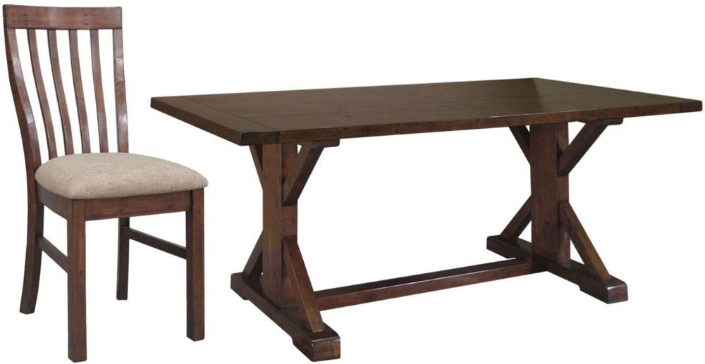 Driftwood Reclaimed Pine Dining Set - Refectory with 6 Fabric Seat Dining Chairs