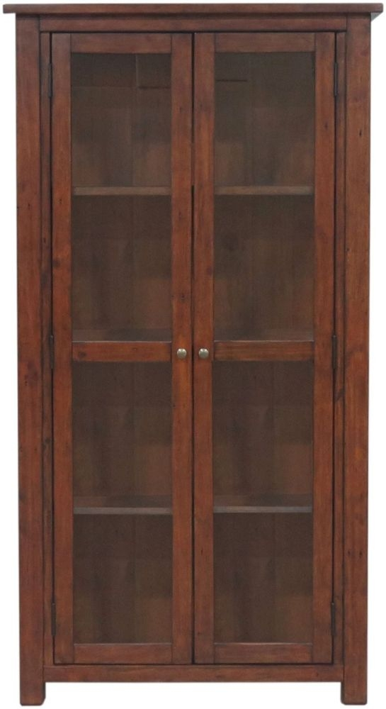 Driftwood Reclaimed Pine 2 Door Large Glazed Display Cabinet