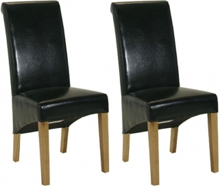 Essentials Oak Dining Chair - Black Roll Top Leather (Pair)