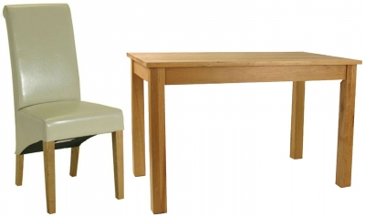 Essentials Oak Dining Set - Rectangular with 4 Cream Roll Top Leather Chairs