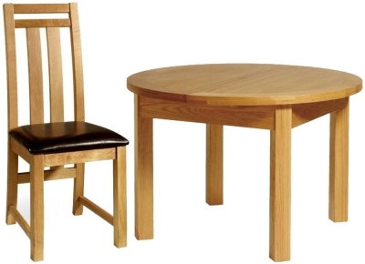 Essentials Oak Dining Set - Round Extending with 4 Neveda Chairs