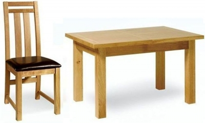 Essentials Oak Dining Set - Small Extending with 6 Neveda Chairs