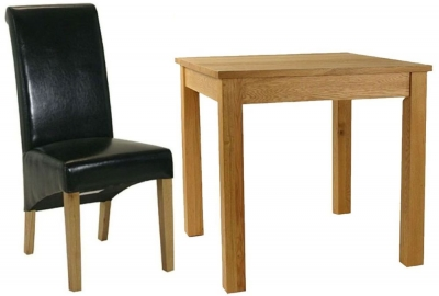 Essentials Oak Dining Set - Small Square with 4 Black Roll Top Leather Chairs