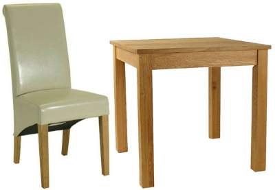 Essentials Oak Dining Set - Small Square with 4 Cream Roll Top Leather Chairs