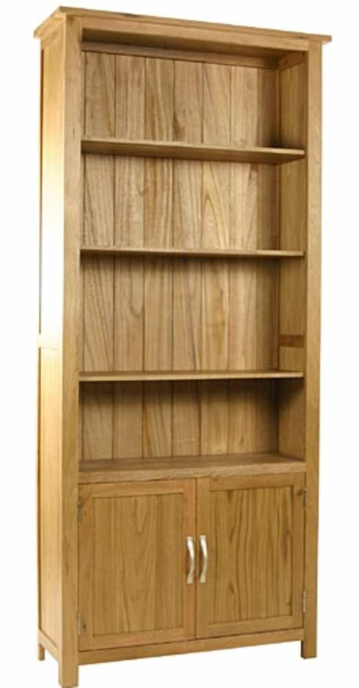 Essentials Oak Bookcase with Cupboard - 2 Door