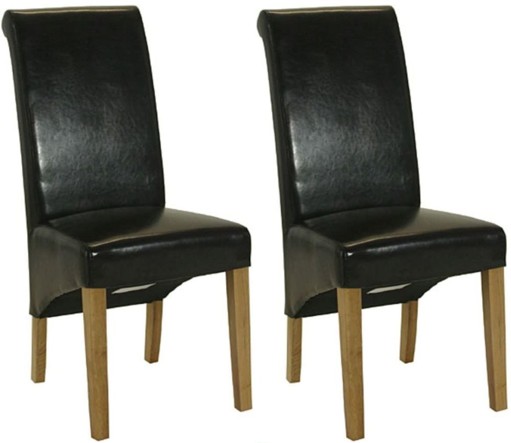 Essentials Oak Dining Chair - Brown Roll Top Leather (Pair)